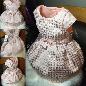 Girls Formal pink metallic polka dot Dress